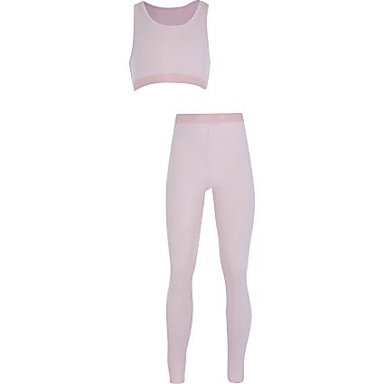 Girls pink crop top loungewear set