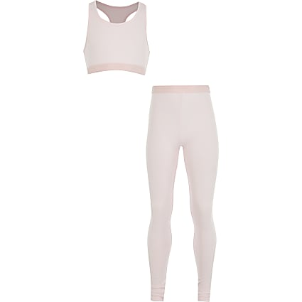 Girls pink crop top loungewear set