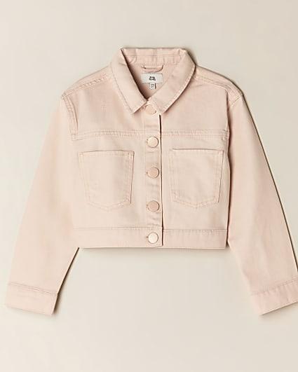Girls pink cropped denim jacket