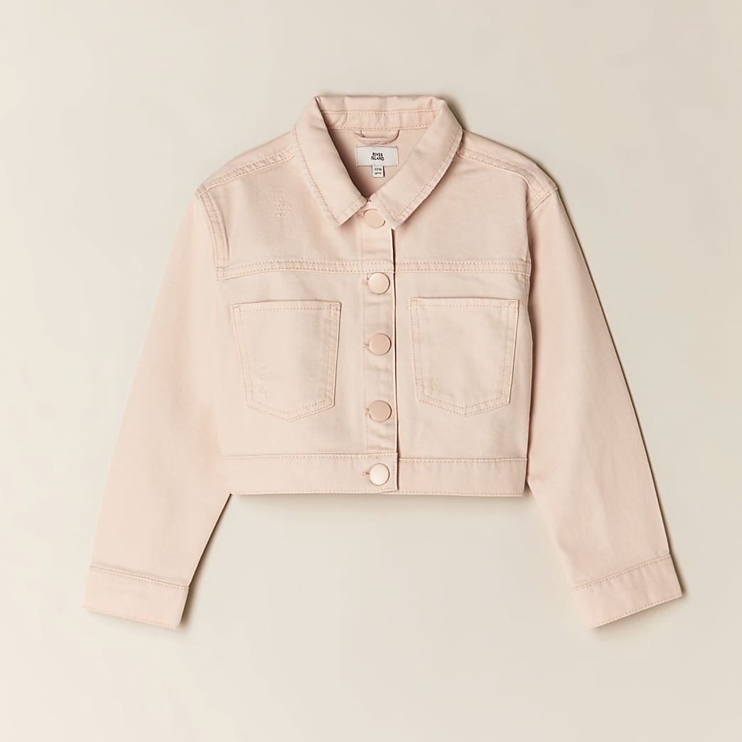 Girls pink cropped denim jacket
