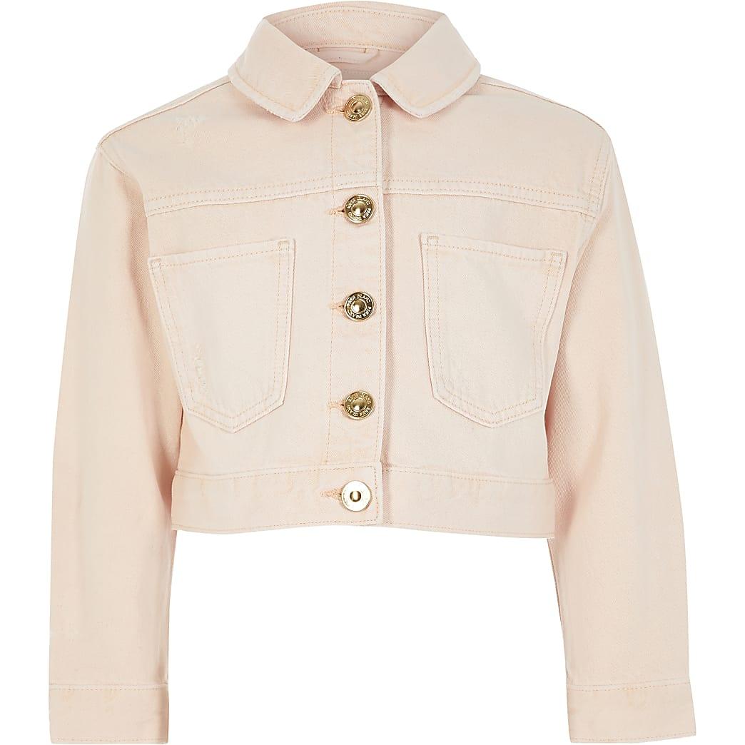 Roze cropped denim jack voor meisjes