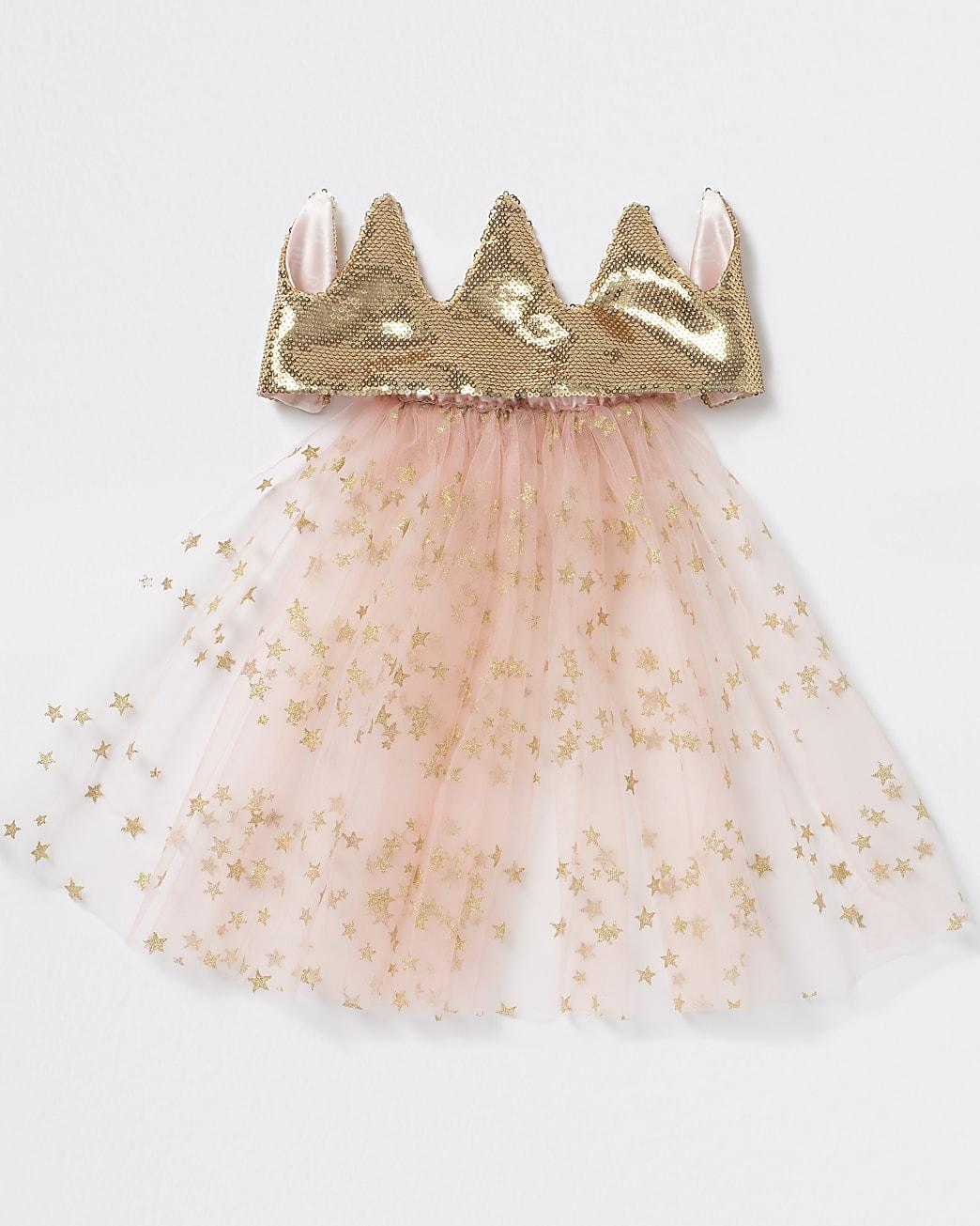 Girls pink crown with veil headband