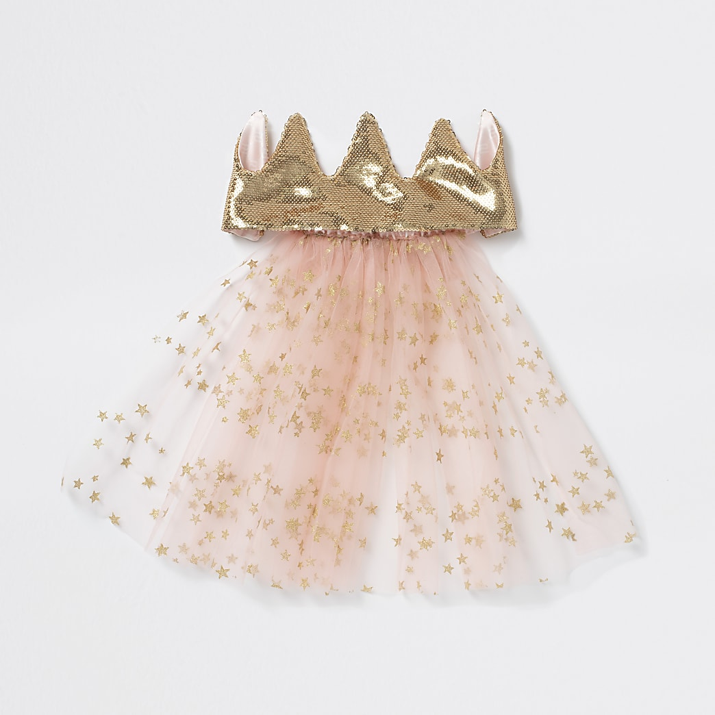 Girls pink crown with veil headband