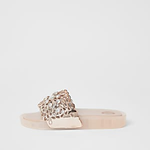 Girls pink cut out embellished sliders