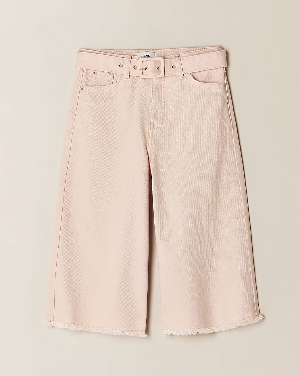 Girls pink denim culottes