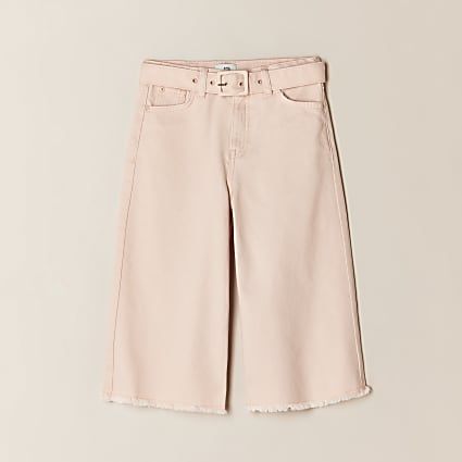 Girls pink denim culottes