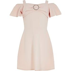 Pinkes Skater-Kleid mit Bardot-Ausschnitt und Strass für Mädchen