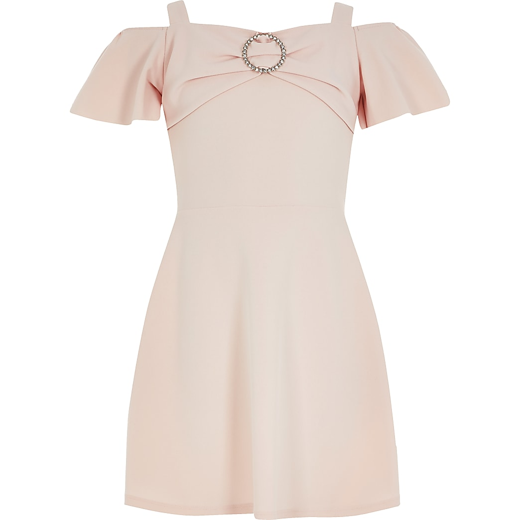 Girls pink diamante bardot skater dress