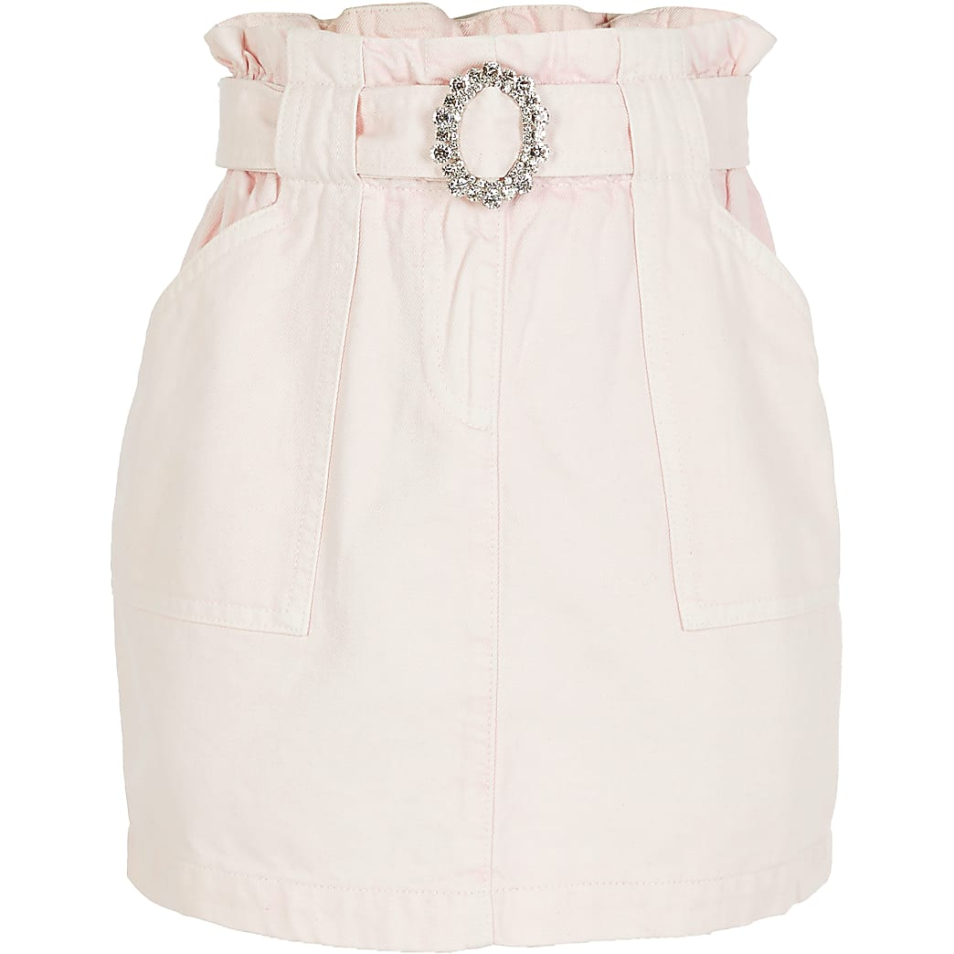 Girls pink diamante belted paperbag skirt