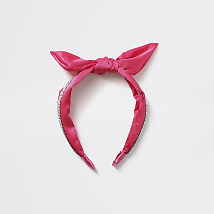 Girls pink diamante bow headband