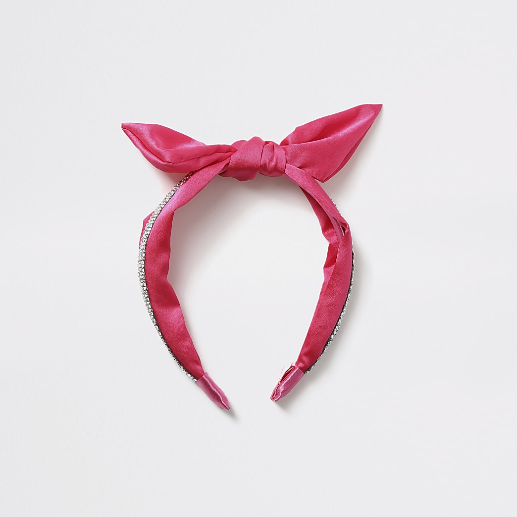 Girls pink diamante bow headband