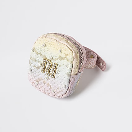 Girls pink diamante bracelet purse