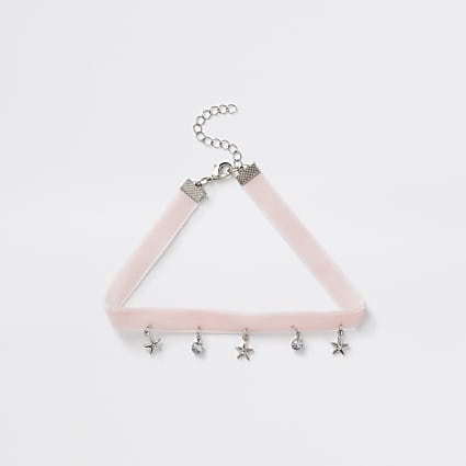 Girls pink diamante charm choker