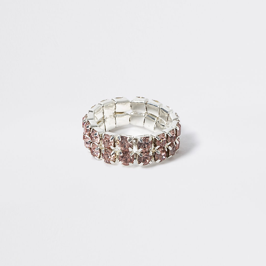 Girls pink diamante elasticated ring