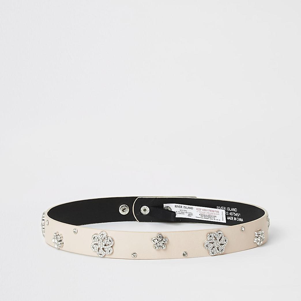 Girls pink diamante embellished waist belt