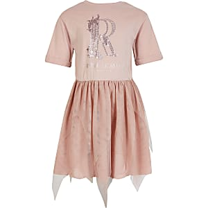 Girls pink diamante mesh T-shirt dress