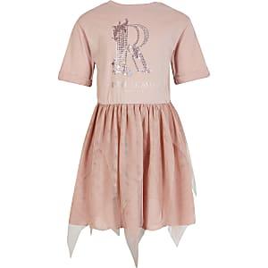 Roze mesh T-shirtjurk met siersteentjes voor meisjes