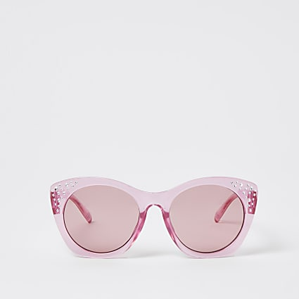 Girls pink diamante oversized sunglasses