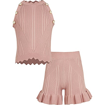 Girls pink diamante ribbed top and shorts set