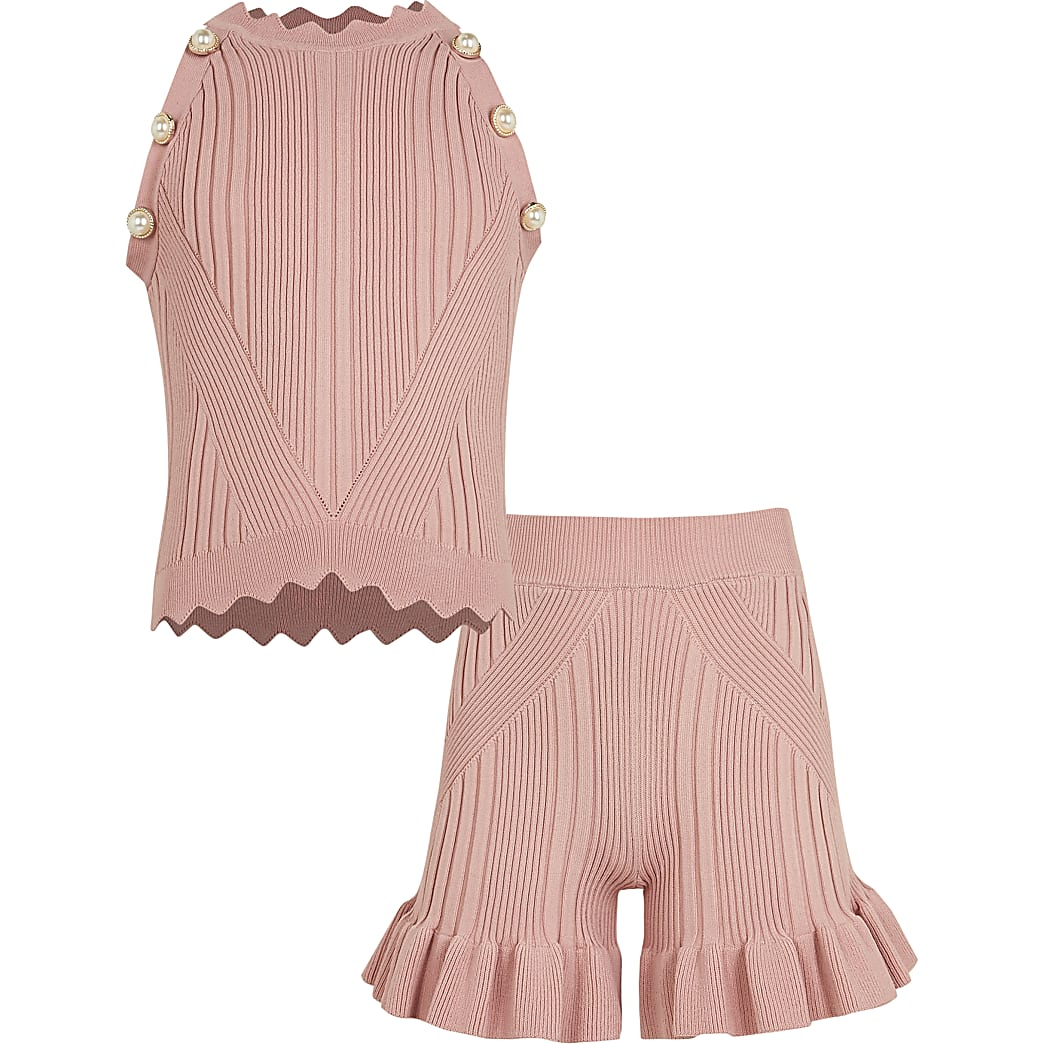 Girls pink diamante ribbed top and shorts set