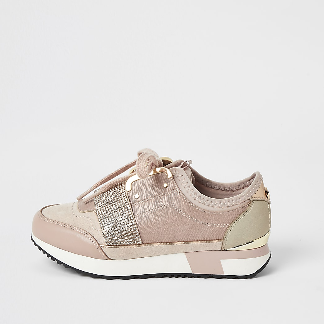 Girls pink diamante strap runner trainers