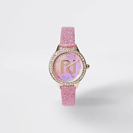 Girls pink diamante watch