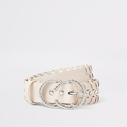 Girls pink diamante whip stitch belt