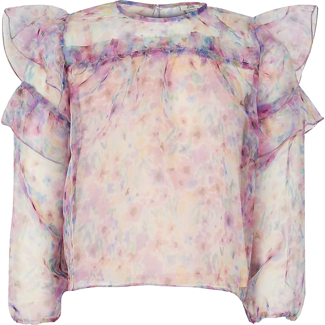 Girls pink ditsy print organza top
