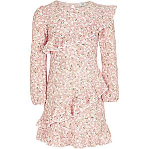Robe à manches longues et volants avec imprimé petites fleurs rose pour fille