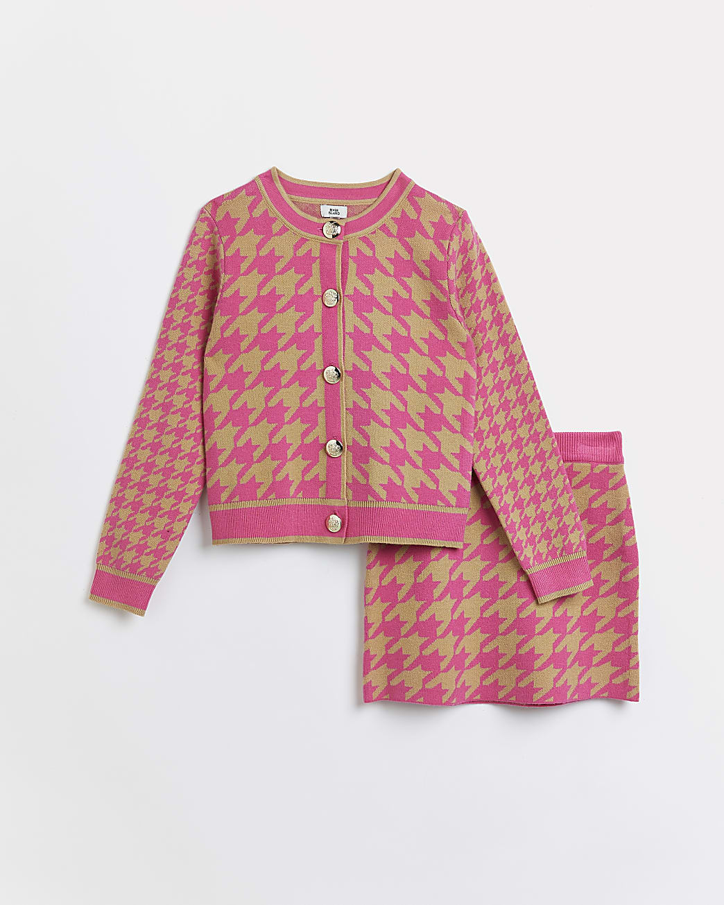 Girls pink dogtooth cardigan and skirt outfit