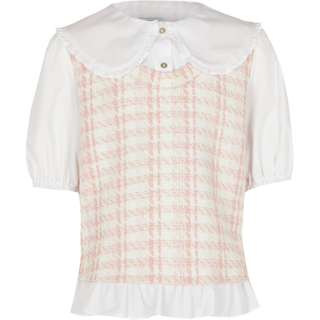 Girls pink dogtooth tabard shirt
