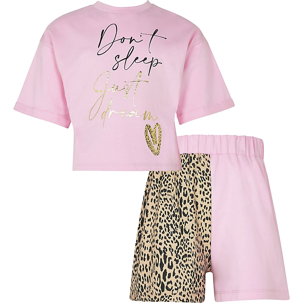Girls pink 'Don't sleep' pyjamas set