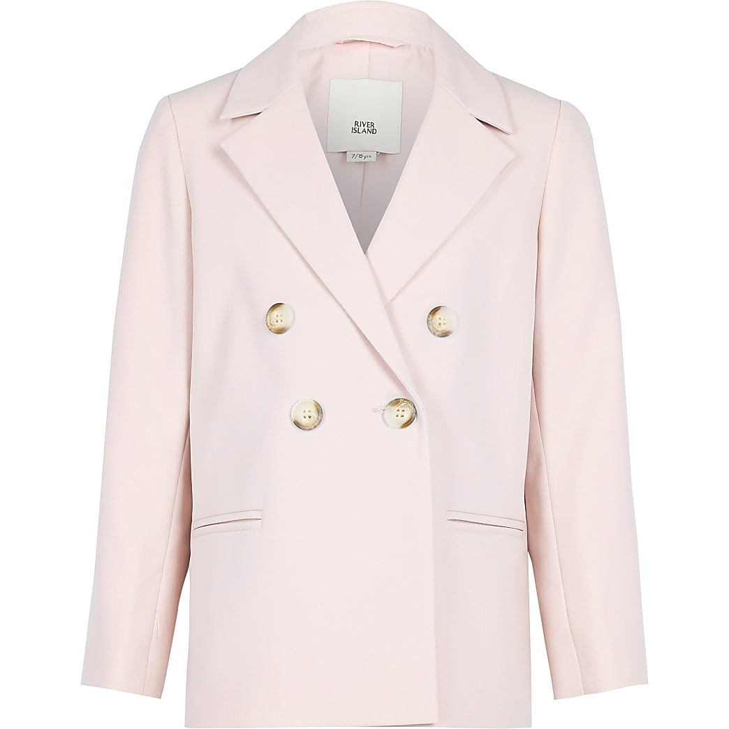Girls pink double breasted blazer