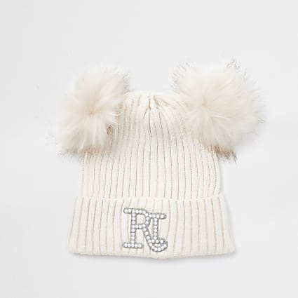 Girls pink double pom beanie