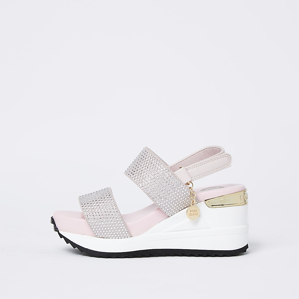 Girls pink double strap sports wedge sandals