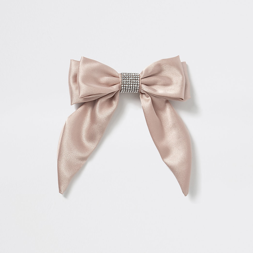 Girls pink embellished bow hair clip