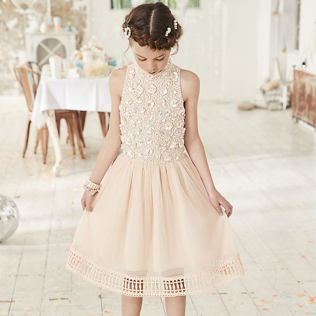Girls pink embellished flower girls dress
