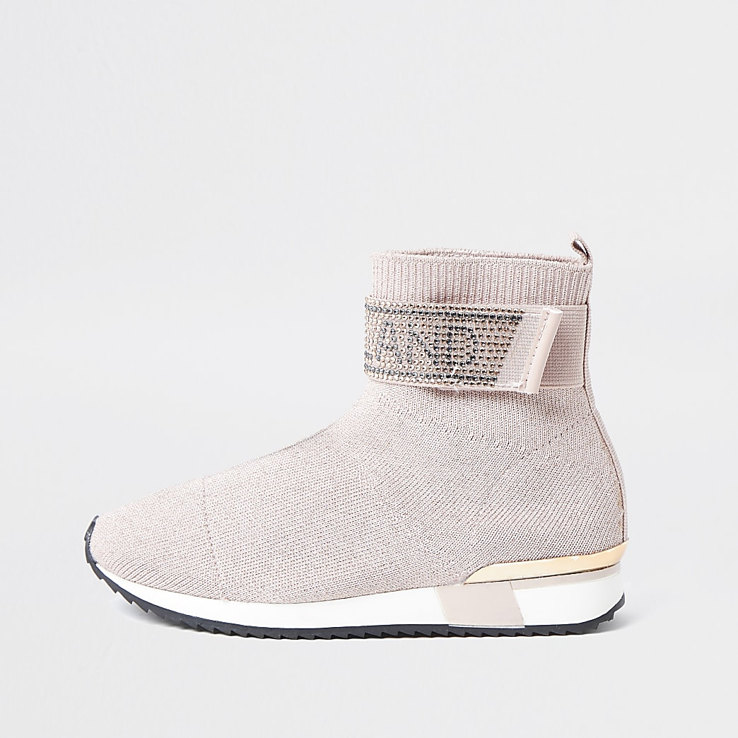 Girls pink embellished hi top trainers