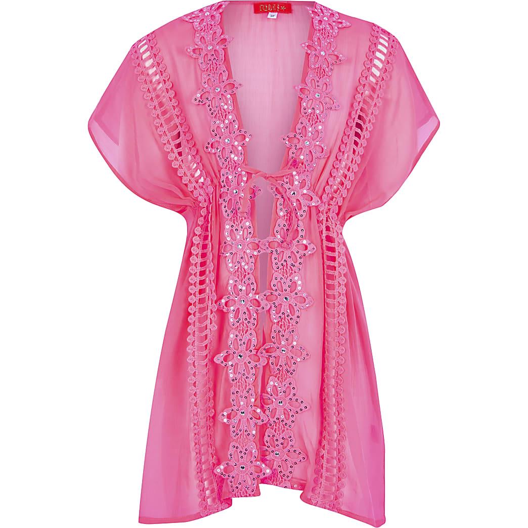 Girls pink embellished kimono