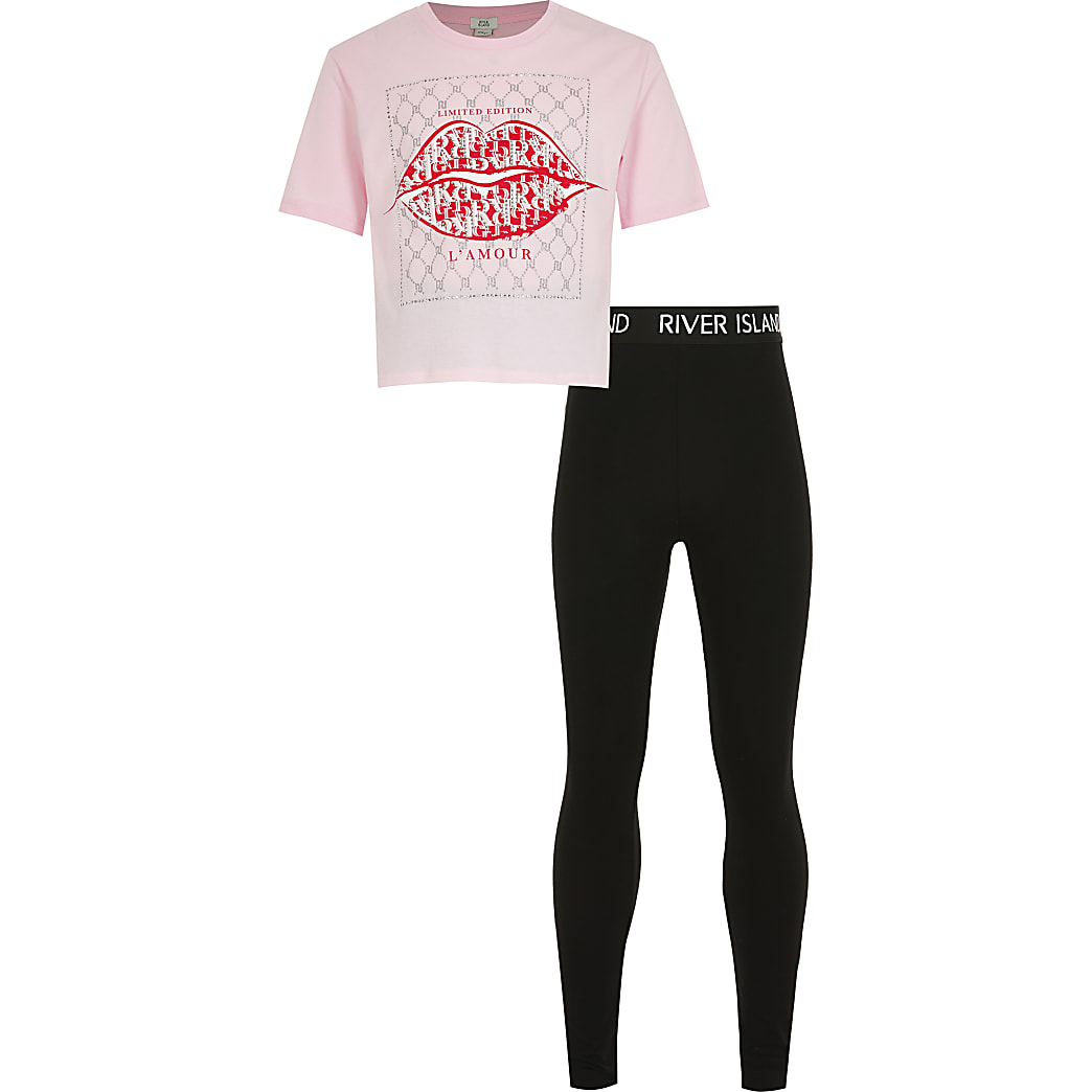 Girls pink embellished lip print tshirt set
