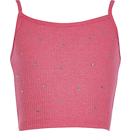 Girls pink embellished sleeveless crop top