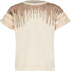 T-shirt avec pampilles ornées rose pour fille
