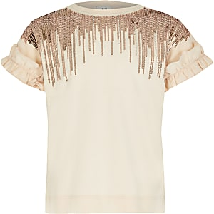 Roze T-shirt met verfraaide kwastjes voor meisjes