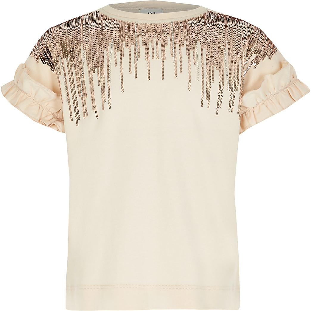 Girls pink embellished tassel T-shirt