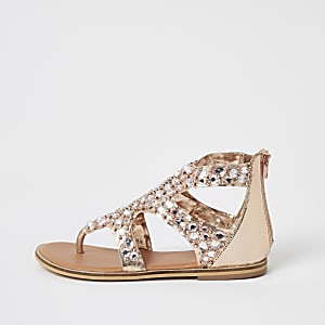 Girls pink embellished toe thong sandals