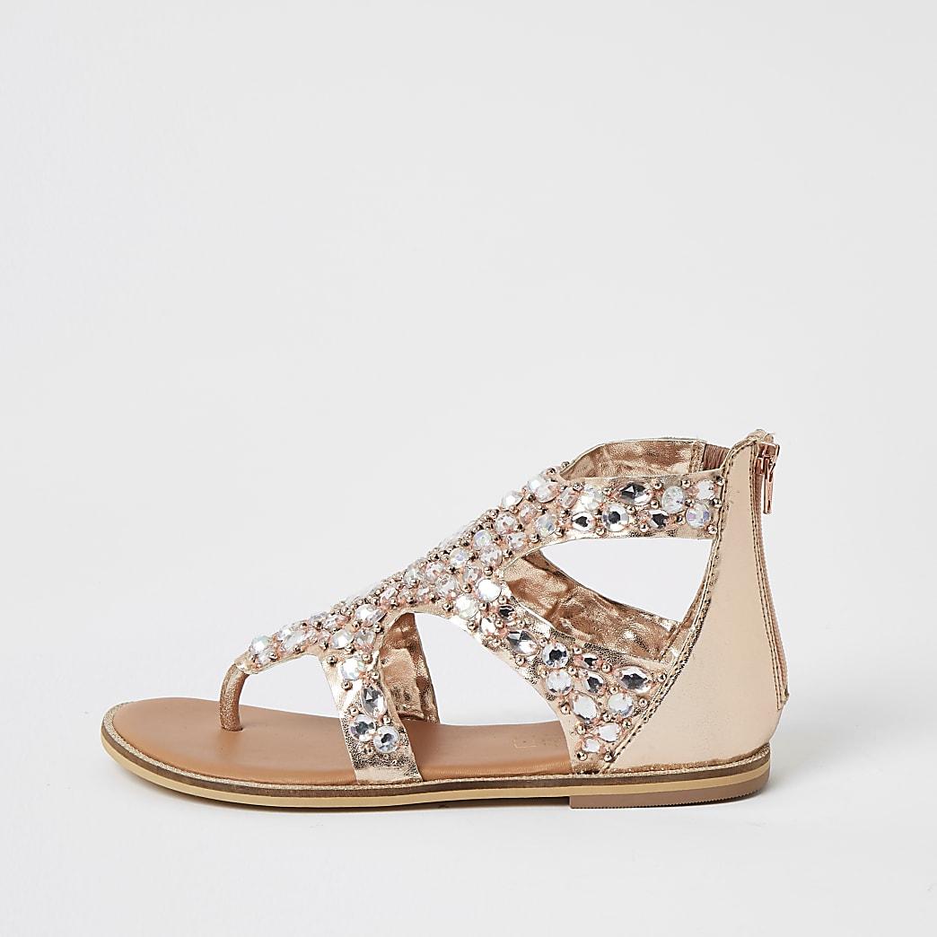 Girls pink embellished toe thong sandals