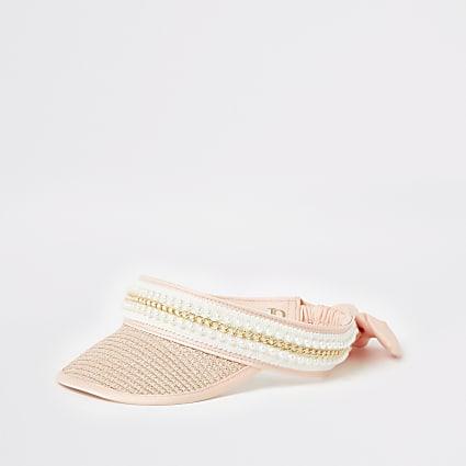 Girls pink embelllished straw visor hat