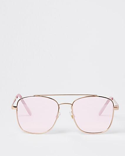 Girls pink embossed aviator sunglasses