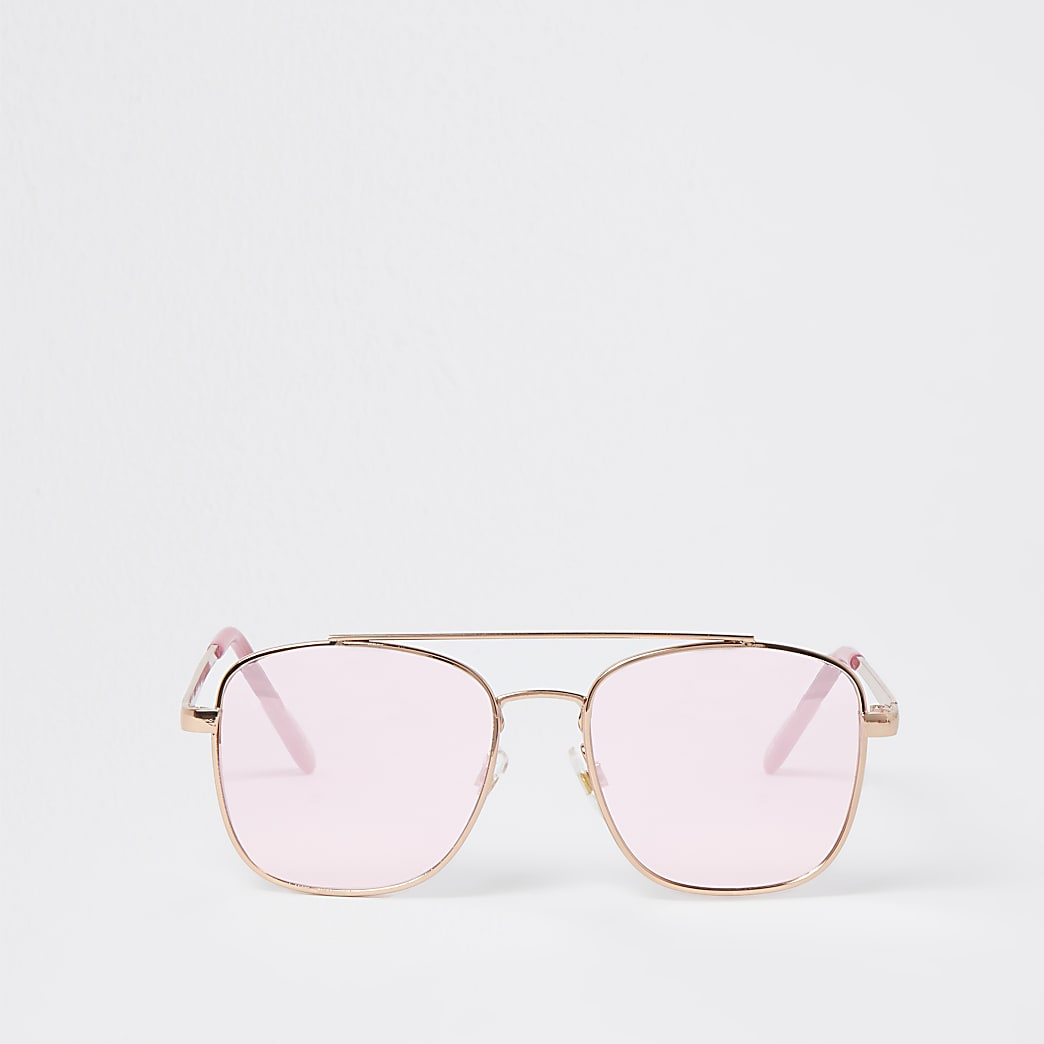 Girls pink embossed aviator sunglasses