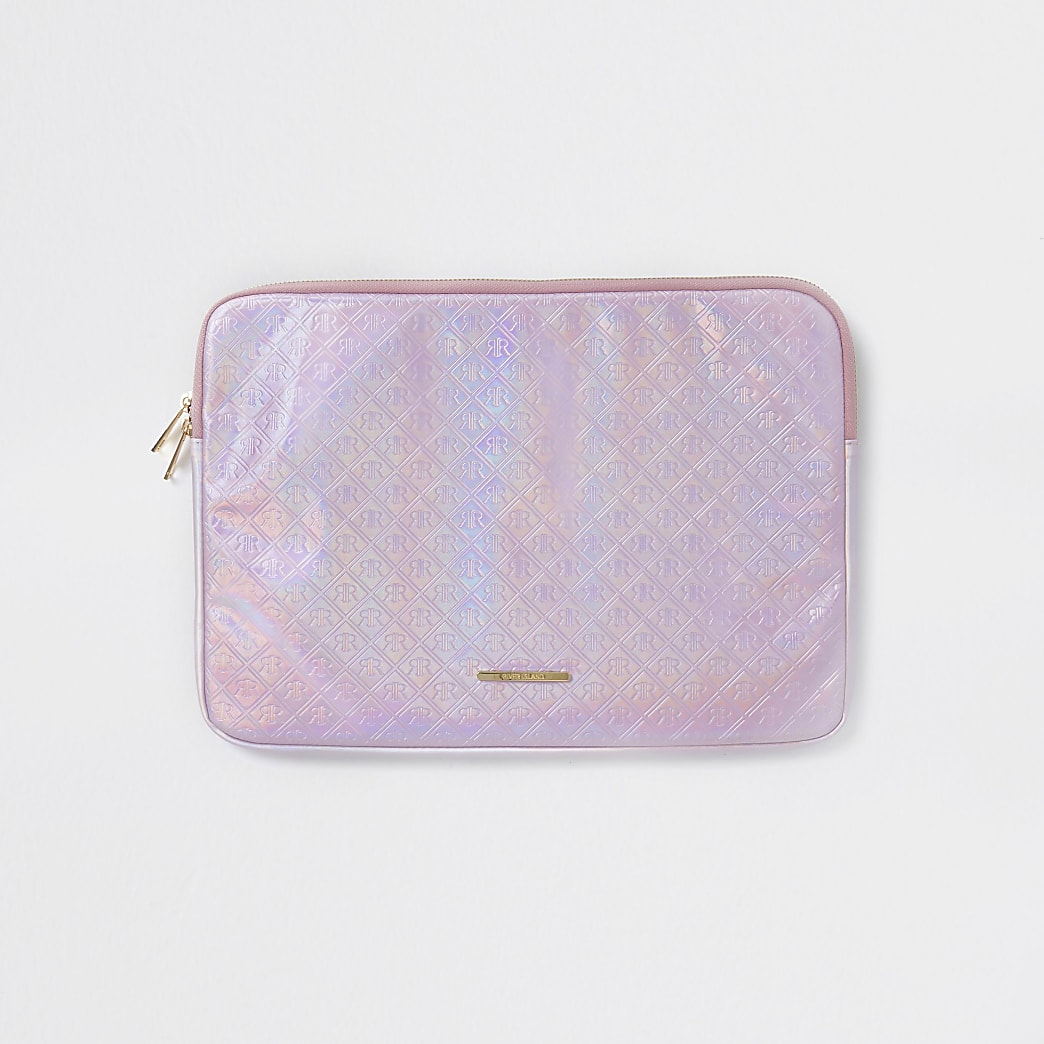Girls pink embossed holographic laptop case